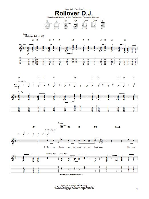 Tablature guitare Rollover D.J. de Jet - Tablature Guitare