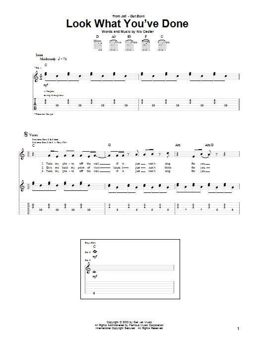 Tablature guitare Look What You've Done de Jet - Tablature Guitare