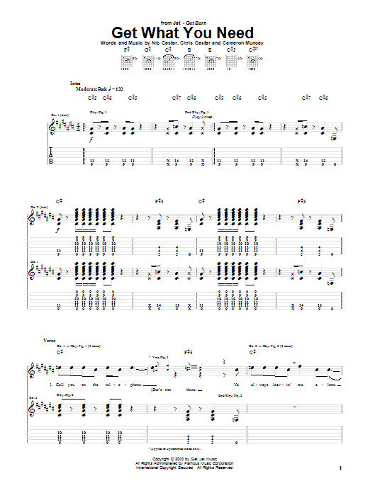 Tablature guitare Get What You Need de Jet - Tablature Guitare