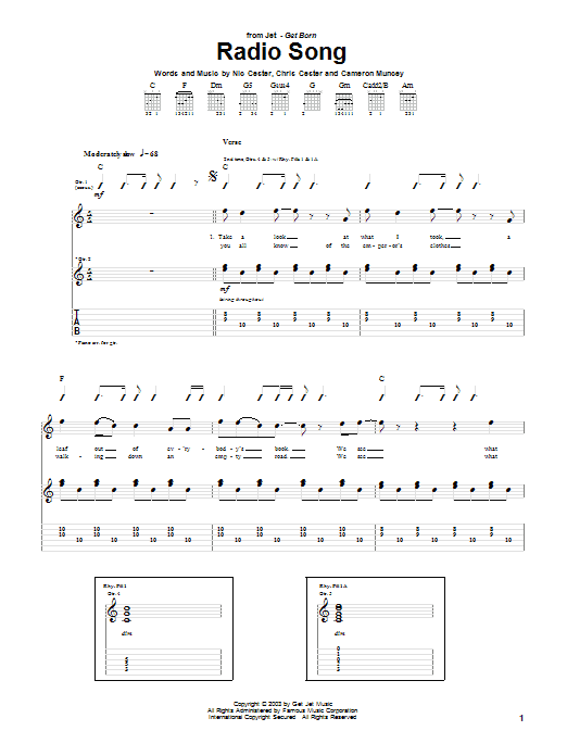 Tablature guitare Radio Song de Jet - Tablature Guitare