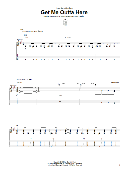 Get Me Outta Here sheet music for guitar solo (tablature) by Chris Cester