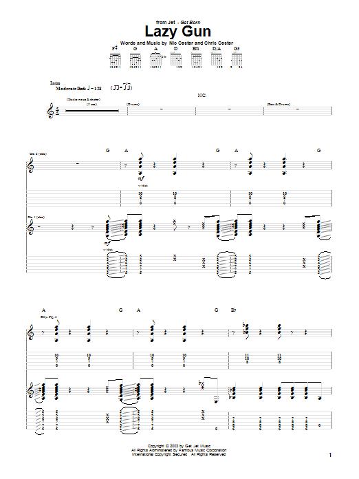 Tablature guitare Lazy Gun de Jet - Tablature Guitare