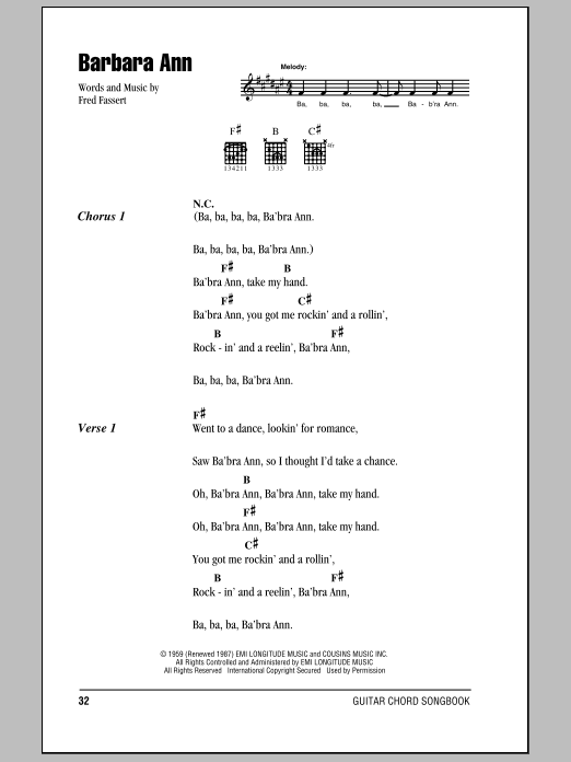 Barbara Ann sheet music for guitar solo (chords, lyrics, melody) by Fred Fassert