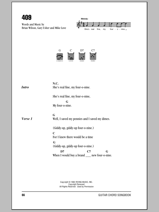 409 sheet music for guitar solo (chords, lyrics, melody) by Mike Love