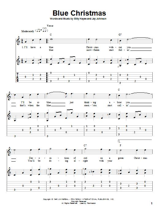 Tablature guitare Blue Christmas de Elvis Presley - Tablature Guitare