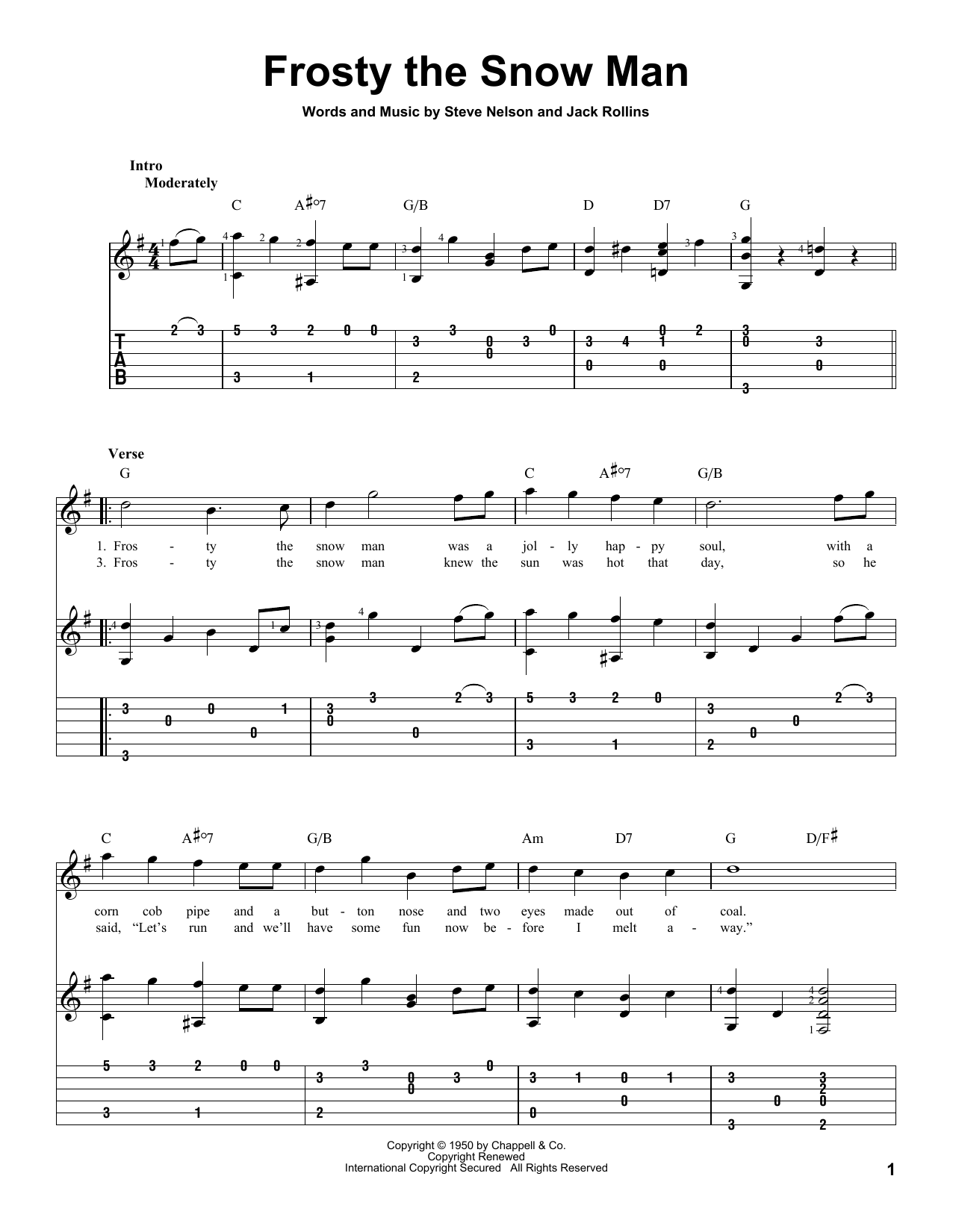 Tablature guitare Frosty The Snow Man de Gene Autry - Tablature Guitare