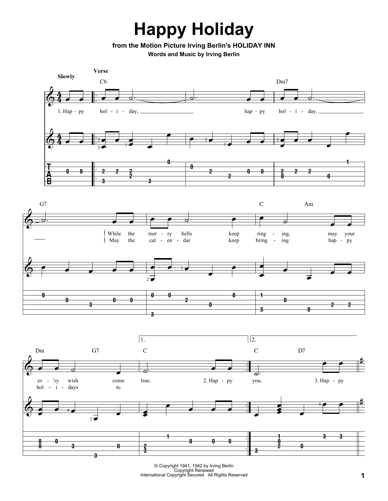 Tablature guitare Happy Holiday de Irving Berlin - Tablature Guitare