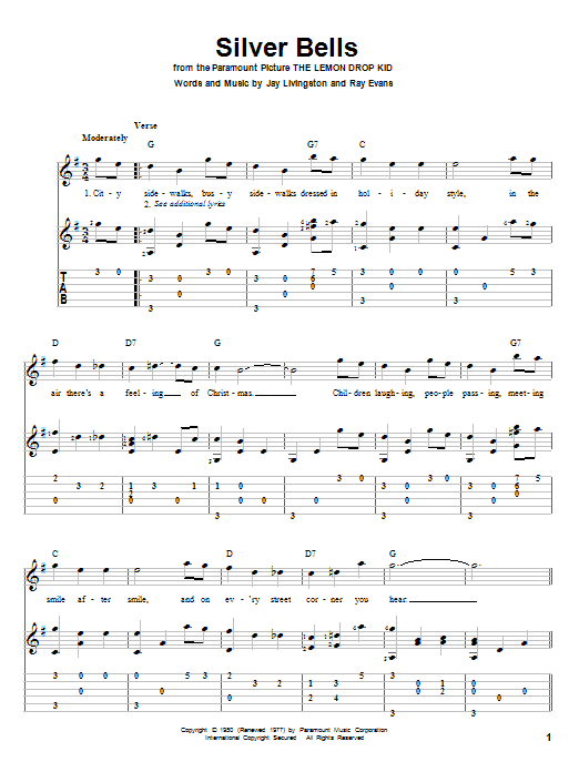 Tablature guitare Silver Bells de Jay Livingston - Tablature Guitare