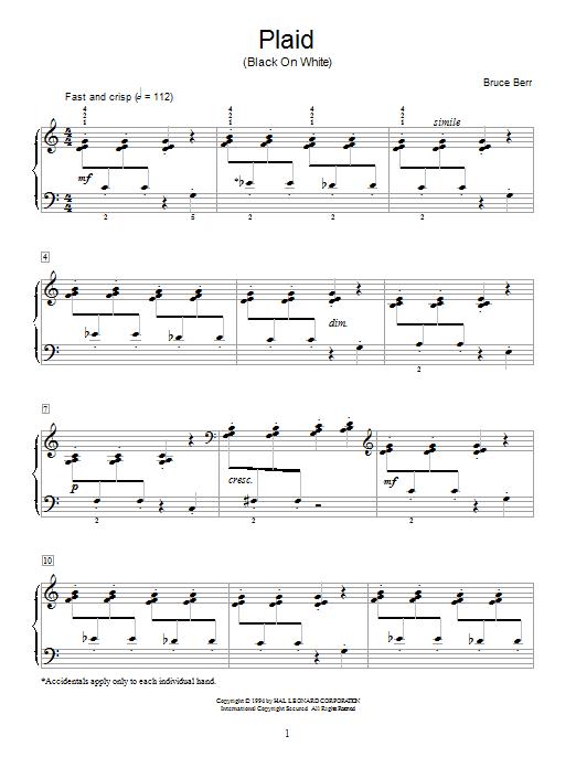 Partition piano Plaid (Black On White) de Bruce Berr - Piano Solo