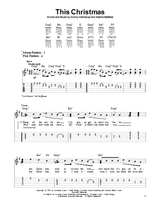 Tablature guitare This Christmas de Donny Hathaway - Tablature guitare facile