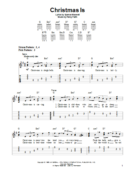 Tablature guitare Christmas Is de Percy Faith - Tablature guitare facile