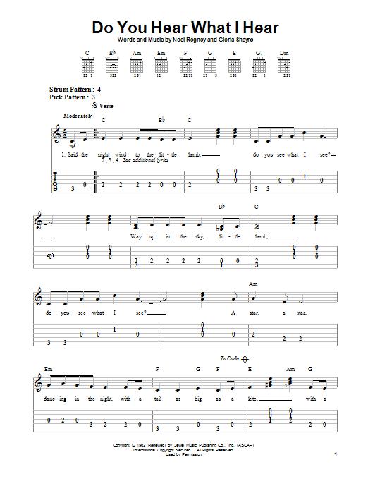 Tablature guitare Do You Hear What I Hear de Bing Crosby - Tablature guitare facile