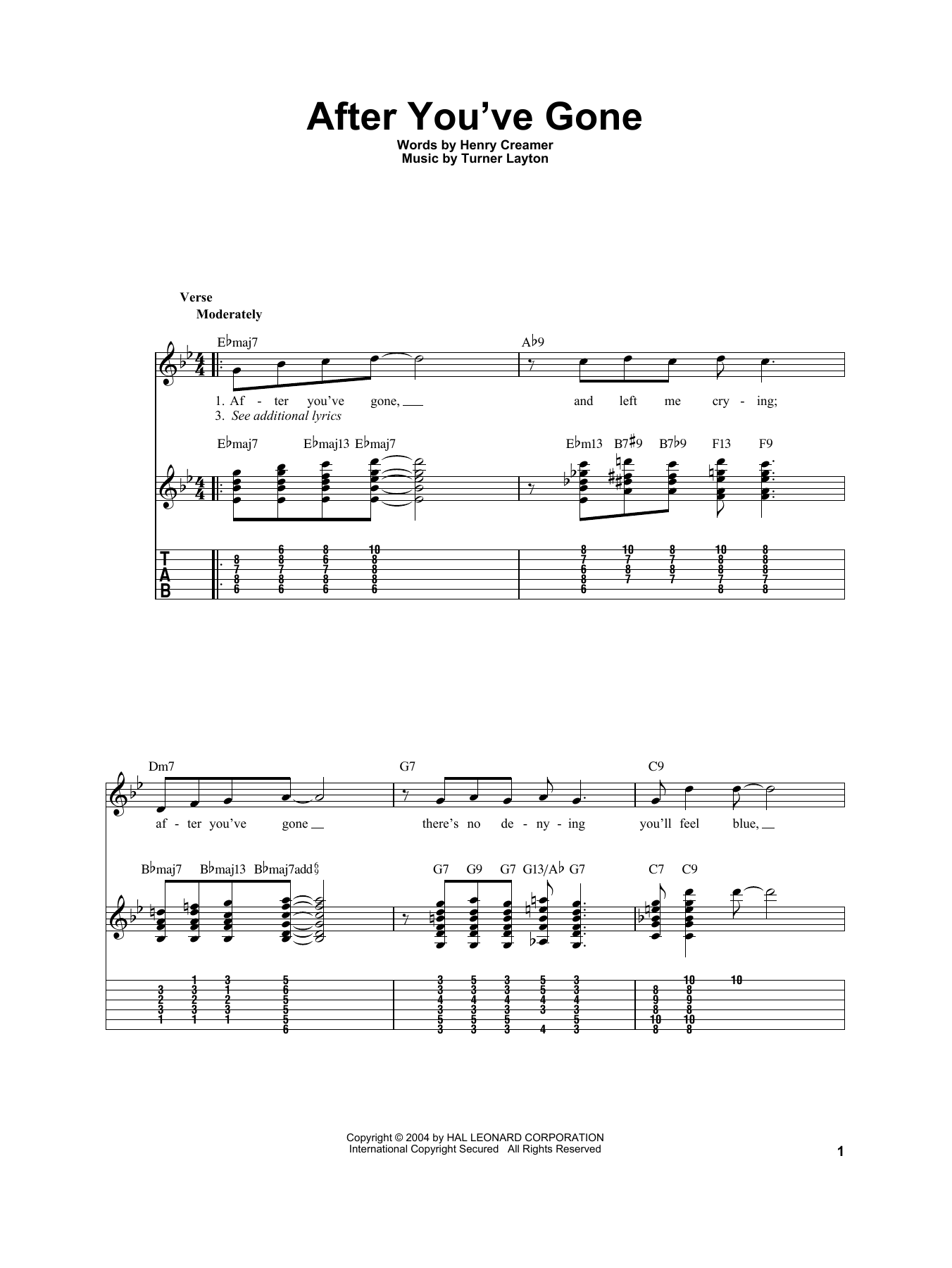 Tablature guitare After You've Gone de Sophie Tucker - Tablature Guitare