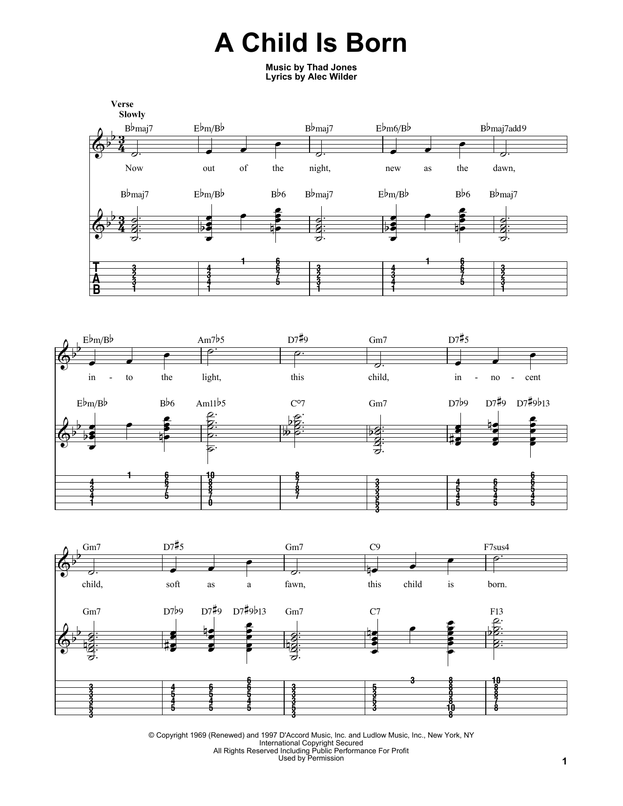 A Child Is Born sheet music for guitar solo (easy tablature) by Thad Jones
