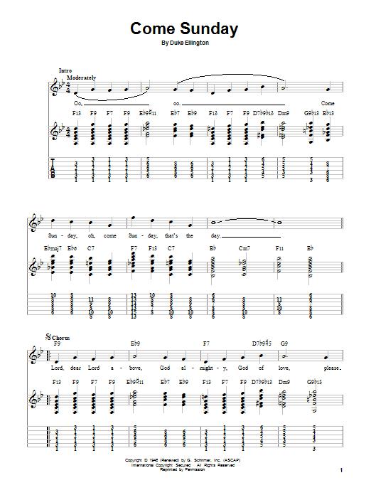 Tablature guitare Come Sunday de Duke Ellington - Tablature guitare facile