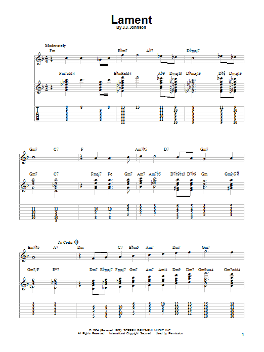 Tablature guitare Lament de J.J. Johnson - Tablature guitare facile
