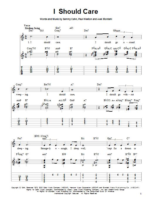 Tablature guitare I Should Care de Barry Manilow - Tablature guitare facile