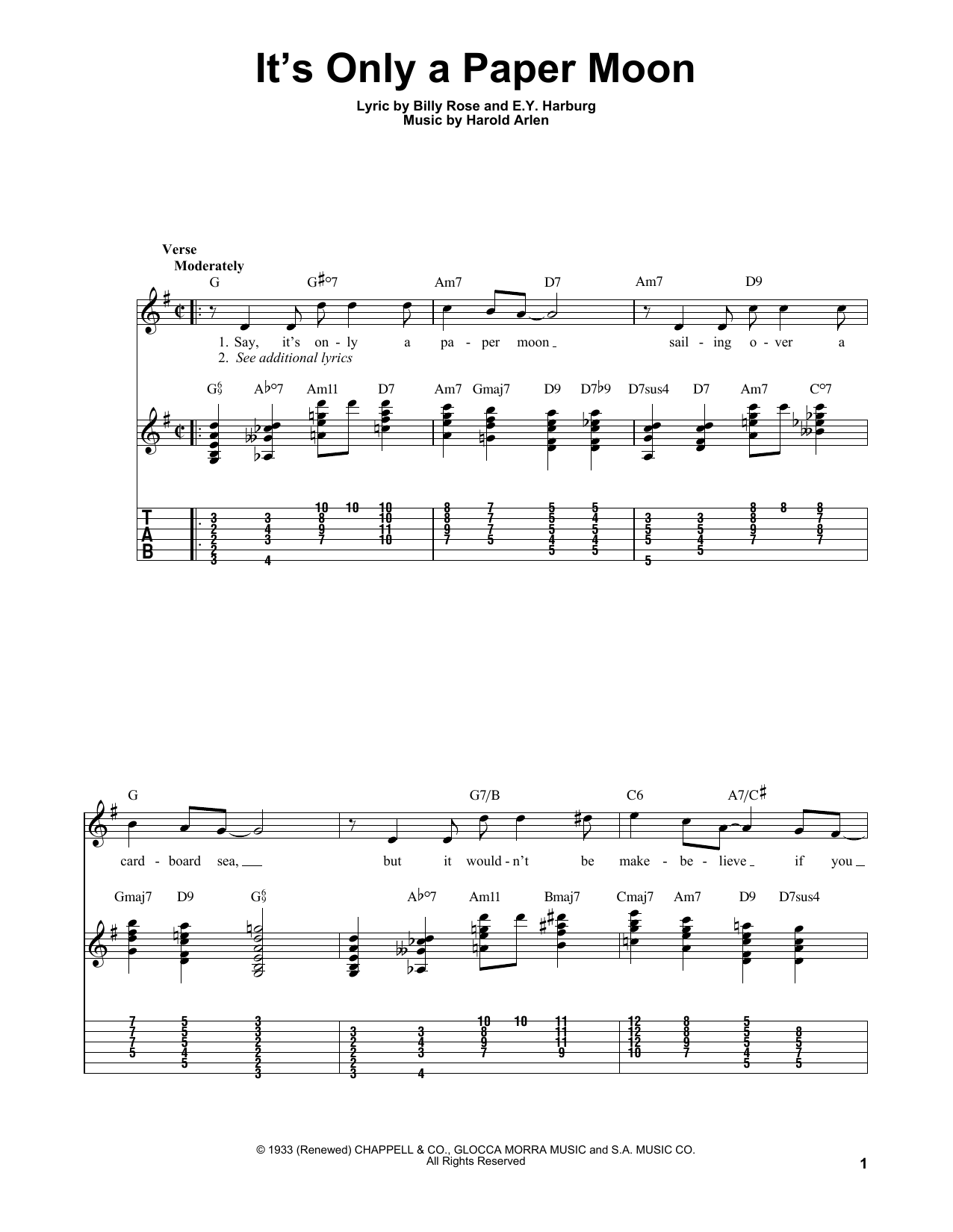 It's Only A Paper Moon sheet music for guitar solo (easy tablature) by Harold Arlen
