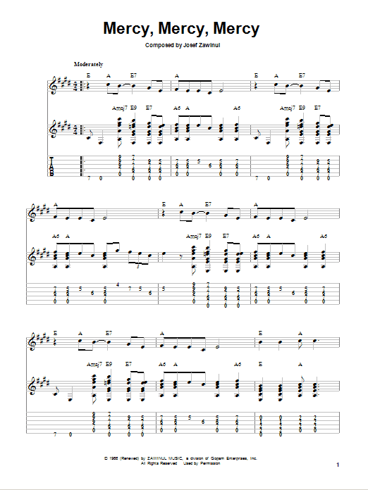 Mercy, Mercy, Mercy sheet music for guitar solo (easy tablature) by Josef Zawinul