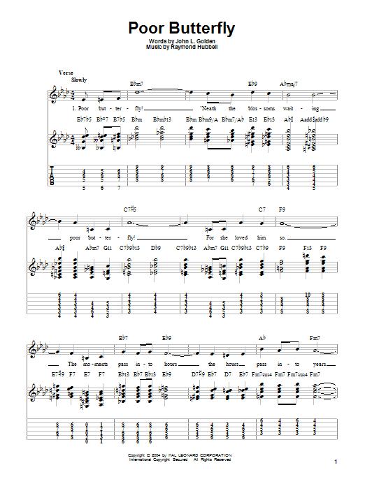Tablature guitare Poor Butterfly de Charlie Christian - Tablature guitare facile