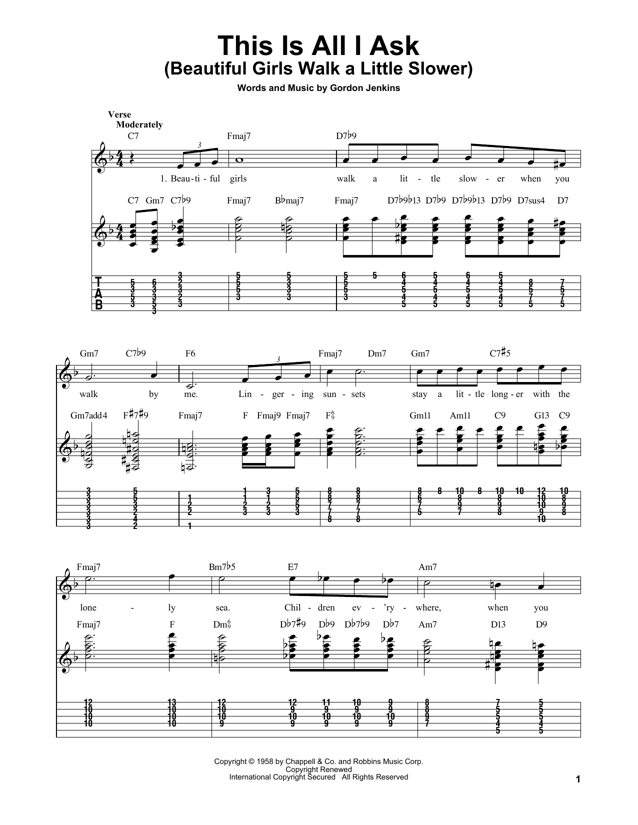 Tablature guitare This Is All I Ask (Beautiful Girls Walk A Little Slower) de Gordon Jenkins - Tablature guitare facile