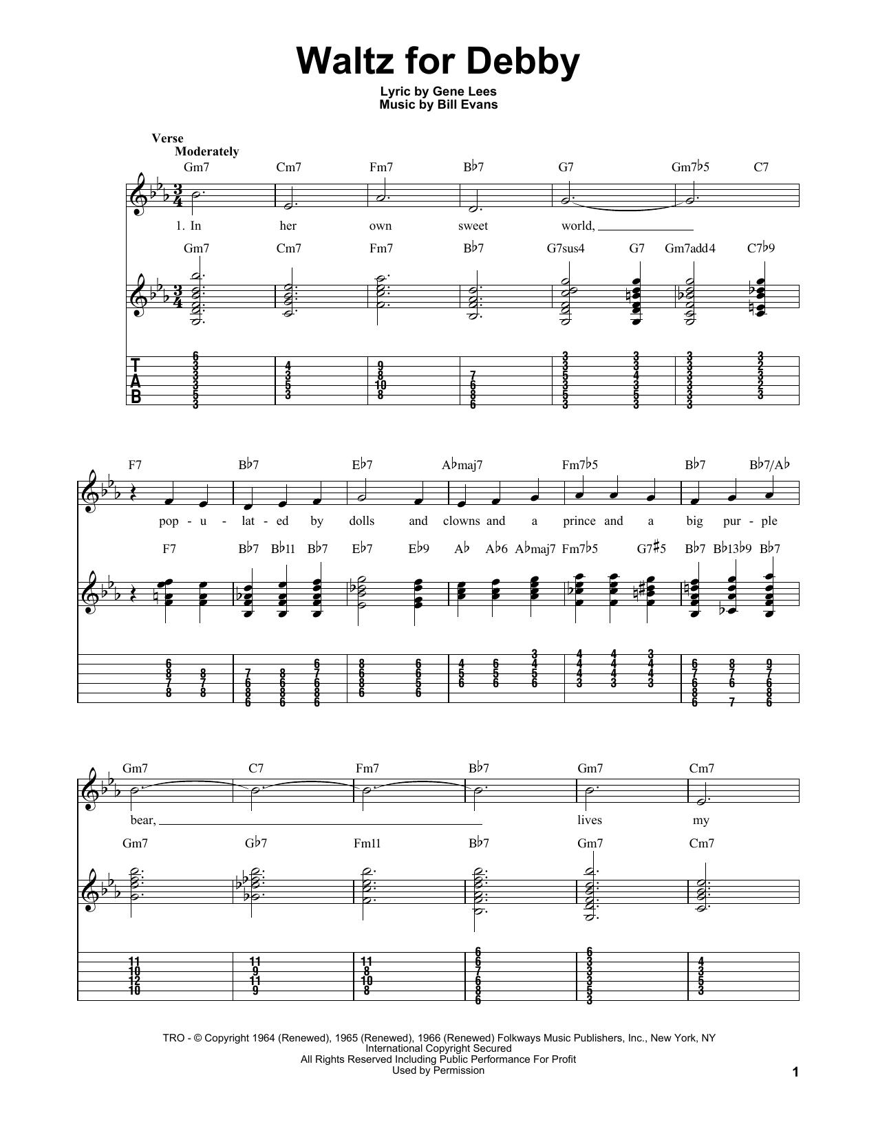 Tablature guitare Waltz For Debby de Bill Evans - Tablature guitare facile