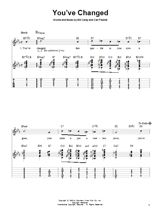 Tablature guitare You've Changed de Connie Russell - Tablature guitare facile