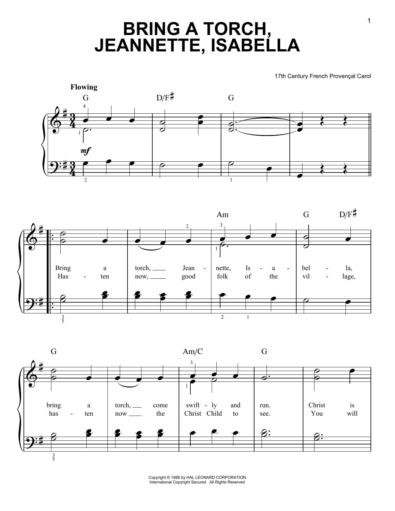 Partition piano Bring A Torch, Jeannette Isabella de Christmas Carol - Piano Facile