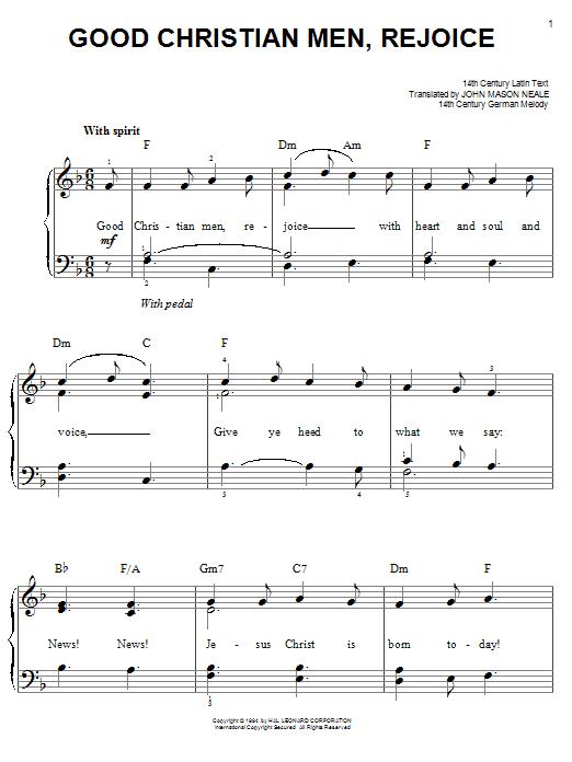 Partition piano Good Christian Men, Rejoice de Christmas Carol - Piano Facile