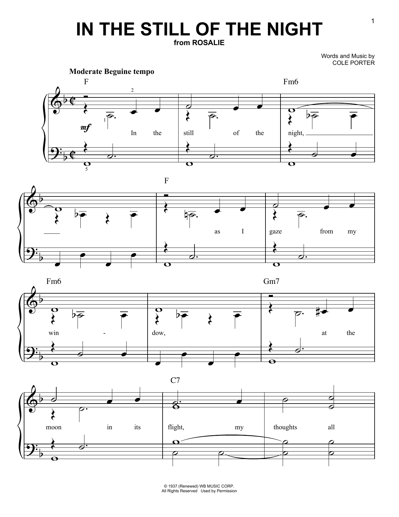 Partition piano In The Still Of The Night de Cole Porter - Piano Facile