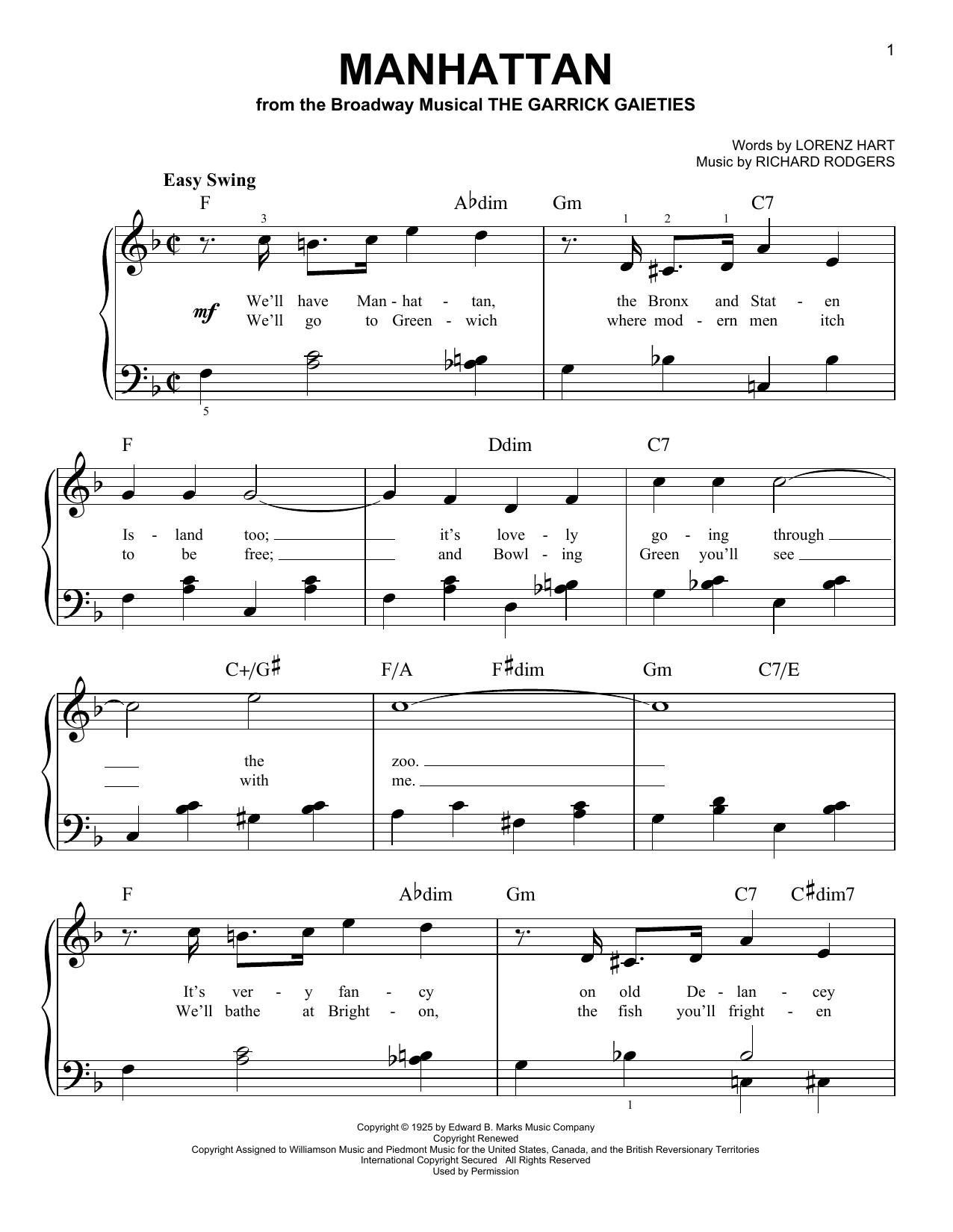 Partition piano Manhattan de Lorenz Hart - Piano Facile