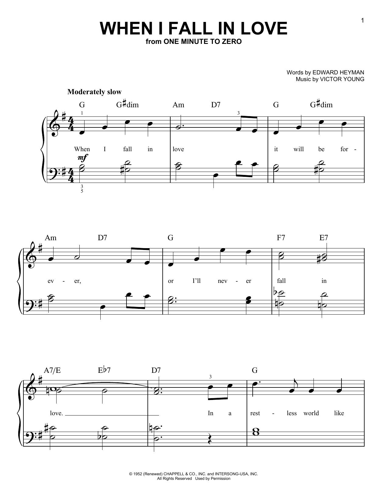 Partition piano When I Fall In Love de Celine Dion - Piano Facile