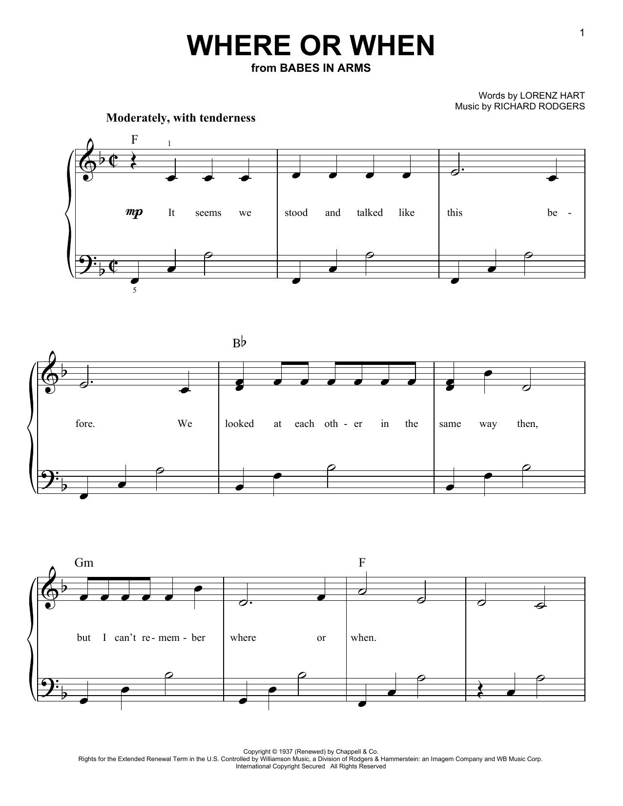 Partition piano Where Or When de Rodgers & Hart - Piano Facile