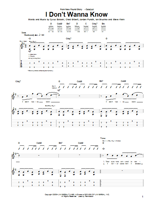 Tablature guitare I Don't Wanna Know de New Found Glory - Tablature Guitare