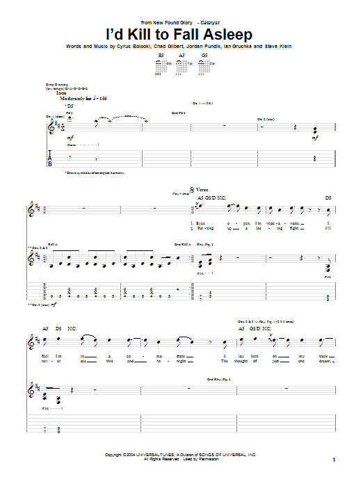 Tablature guitare I'd Kill To Fall Asleep de New Found Glory - Tablature Guitare