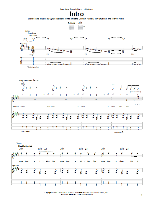 Tablature guitare Intro de New Found Glory - Tablature Guitare