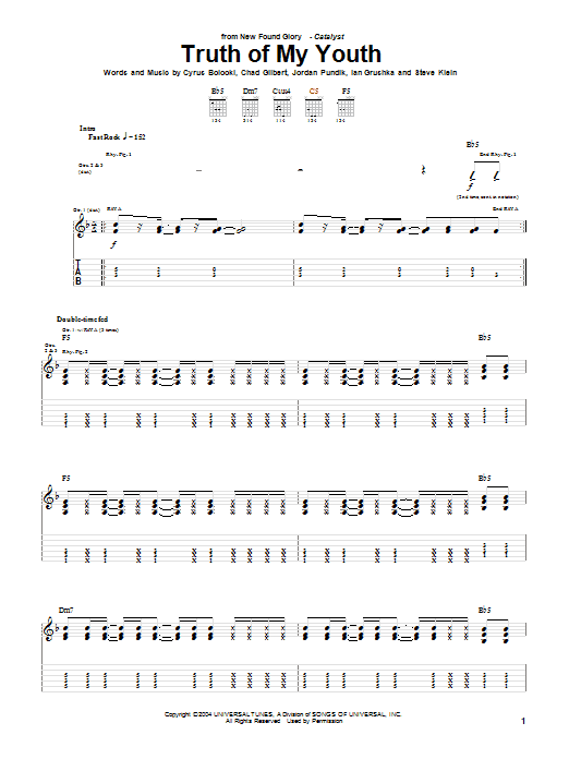 Tablature guitare Truth Of My Youth de New Found Glory - Tablature Guitare