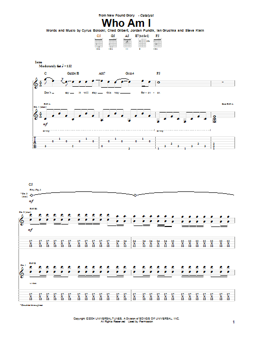 Tablature guitare Who Am I de New Found Glory - Tablature Guitare