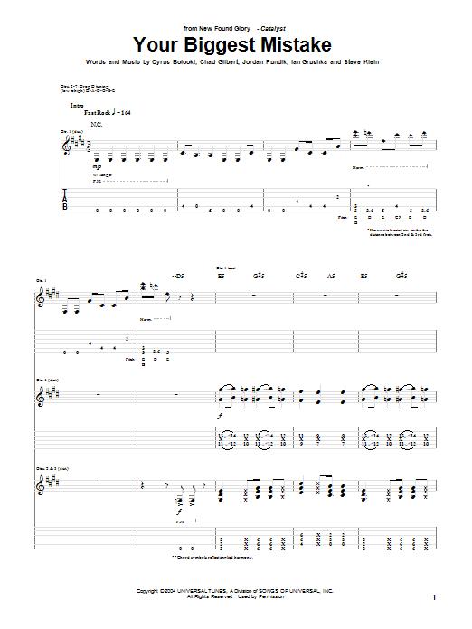 Tablature guitare Your Biggest Mistake de New Found Glory - Tablature Guitare