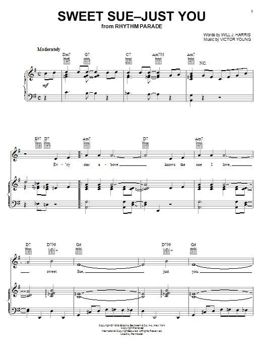 Partition piano Sweet Sue-Just You de Django Reinhardt - Piano Voix Guitare (Mélodie Main Droite)
