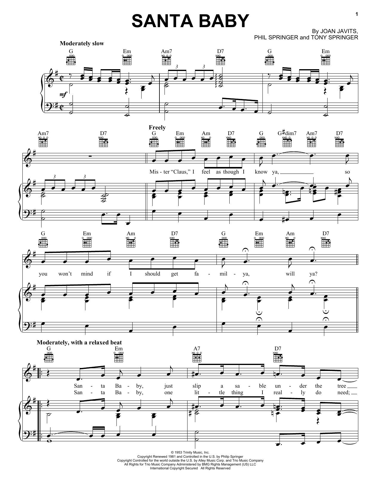 Partition piano Santa Baby de Eartha Kitt - Piano Voix Guitare (Mélodie Main Droite)