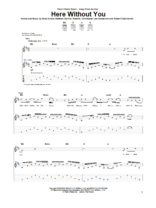 Tablature guitare Here Without You de 3 Doors Down - Tablature Guitare
