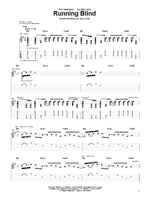 Tablature guitare Running Blind de Godsmack - Tablature Guitare
