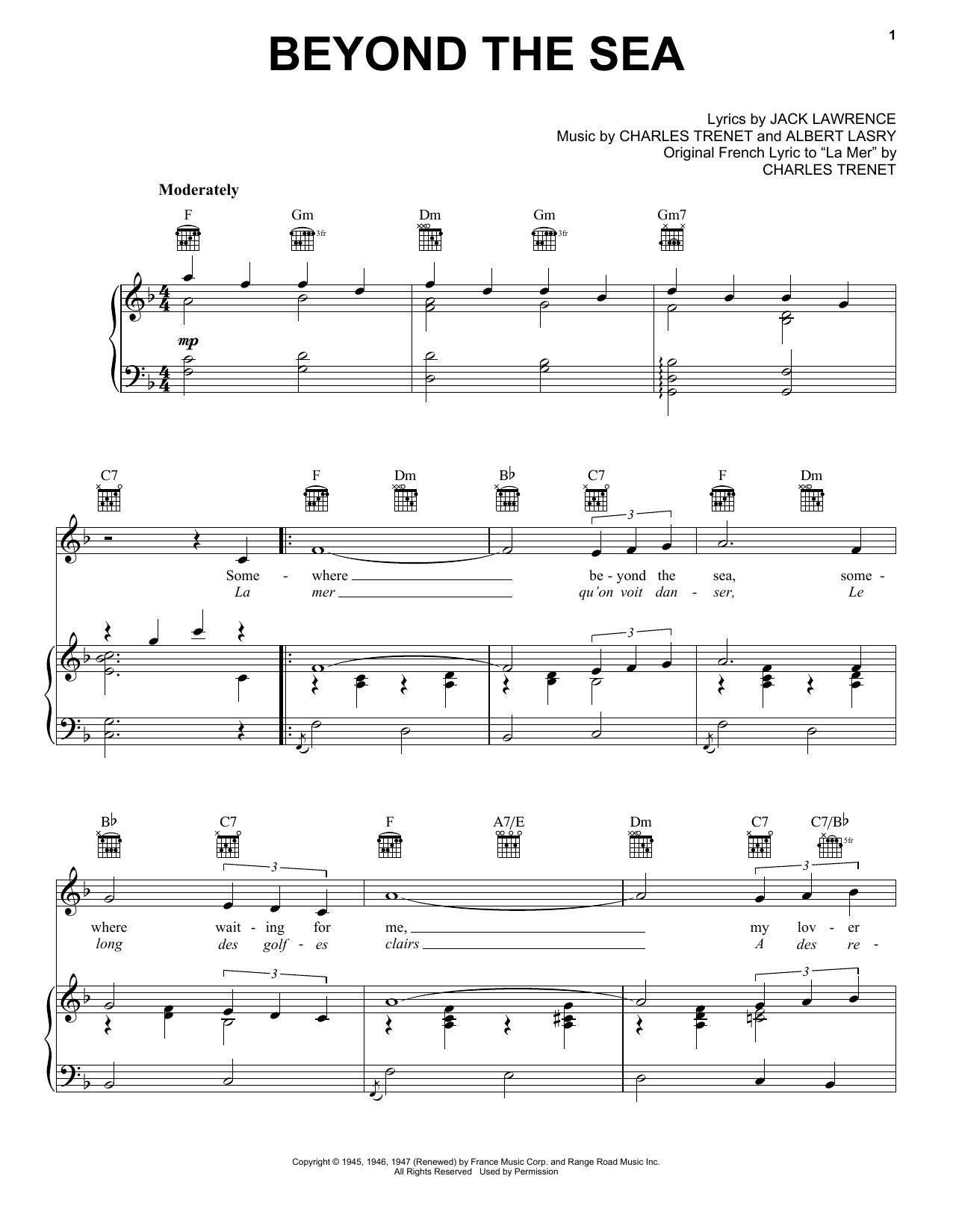 Partition piano Beyond The Sea de Roger Williams - Piano Voix Guitare (Mélodie Main Droite)