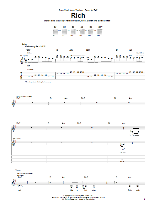 Rich sheet music for guitar solo (tablature) by Nick Zinner