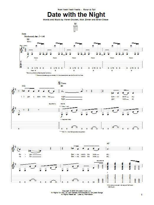 Date With The Night sheet music for guitar solo (tablature) by Nick Zinner