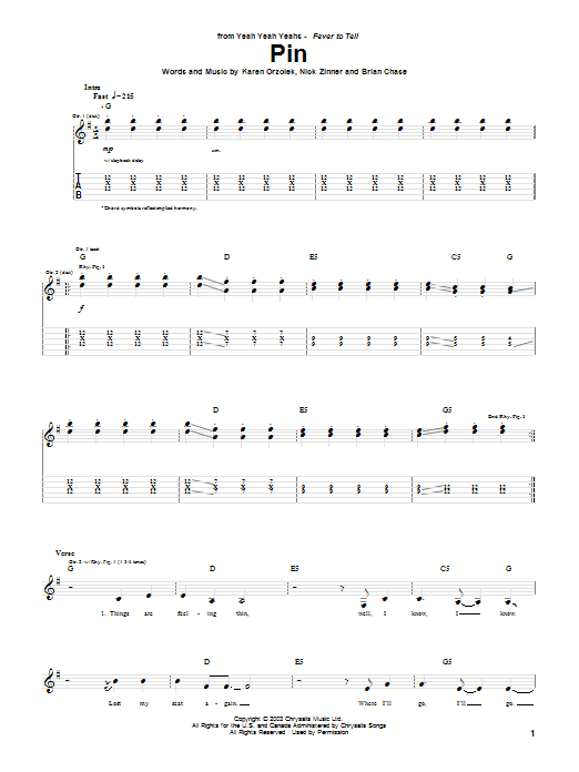 Tablature guitare Pin de Yeah Yeah Yeahs - Tablature Guitare