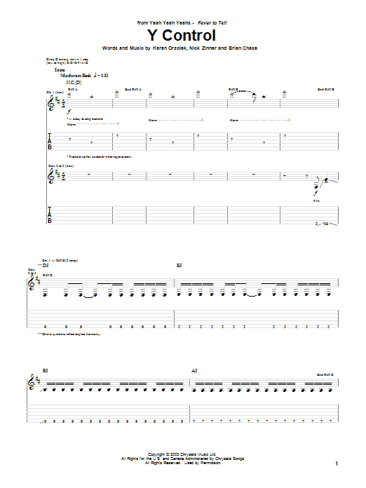 Tablature guitare Y Control de Yeah Yeah Yeahs - Tablature Guitare