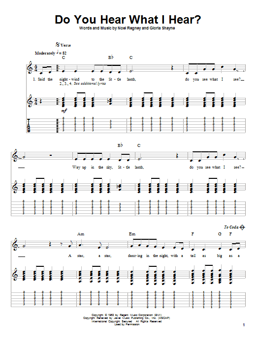 Tablature guitare Do You Hear What I Hear de Noel Regney - Tablature Guitare