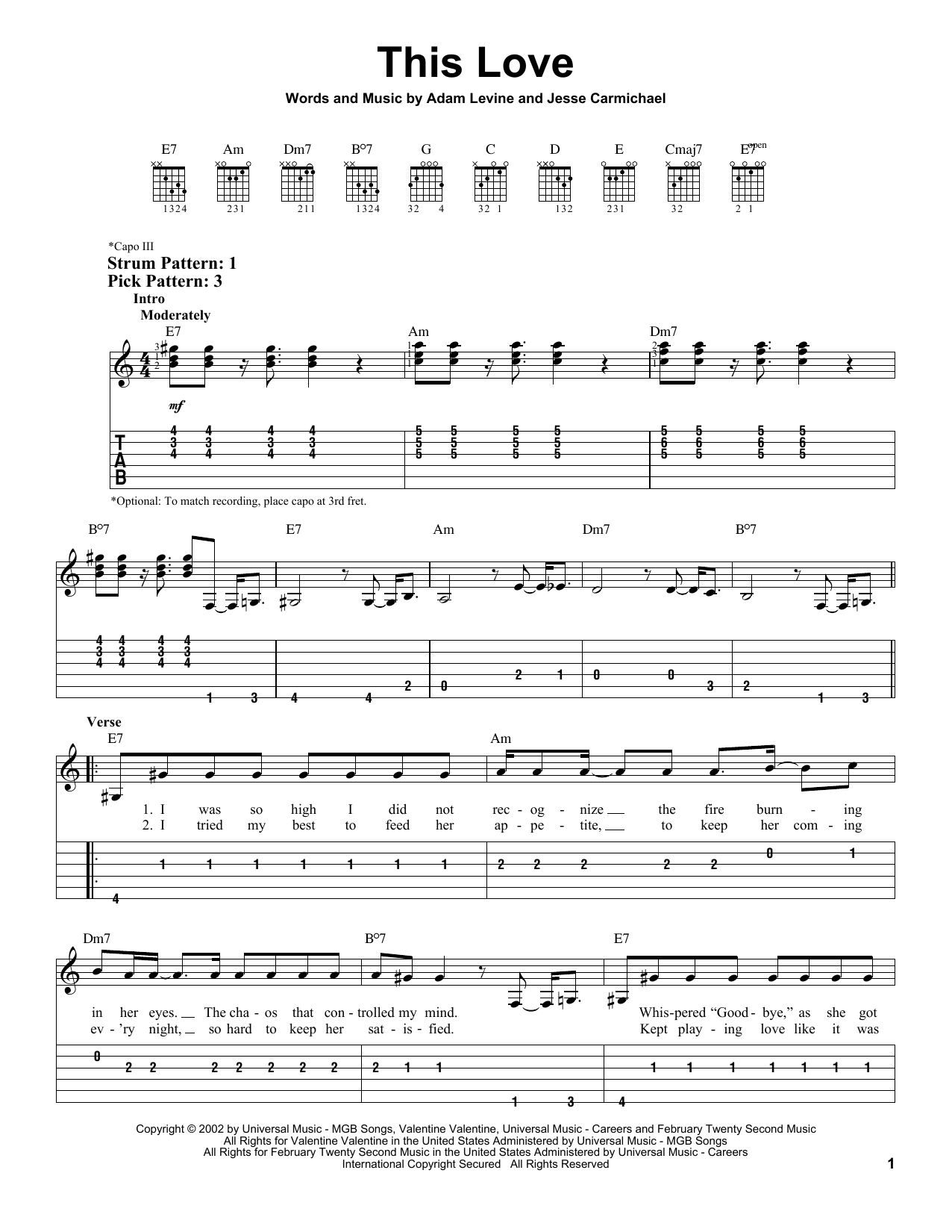 Tablature guitare This Love de Maroon 5 - Tablature guitare facile